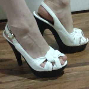 Charlotte Russe White Slingback Chunky Heel Sandal
